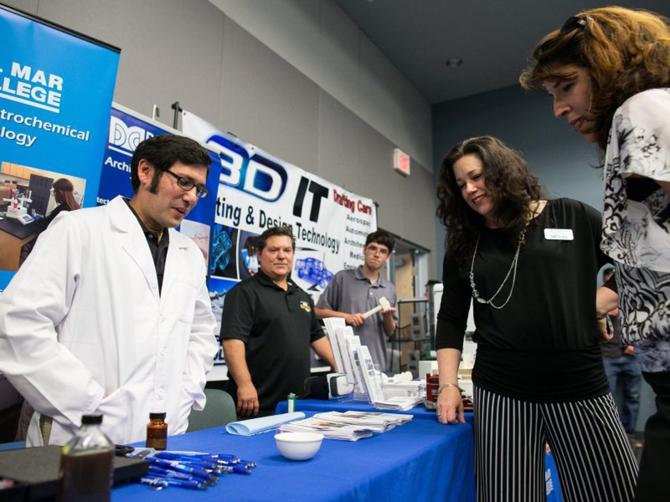COURTNEY SACCO/CALLER-TIMES Environmental/ Petrochemical instructor Ty Huddleston gives a contaminated fuel demonstration Thursday, May 5, 2016, during a showcase of Del Mar College's technical training programs.