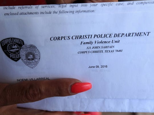 A letter from the Corpus Christi Police Department addressed to Noemi Villarreal was dated June 9, 2016, and postmarked June 14. She was killed June 8, six days after filing a police report.