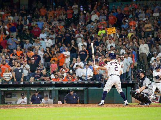 COURTNEY SACCO/CALLER-TIMES Alex Bregman stands at the plate during his second game with the Astros on Tuesday. Bregman, who was considered by many the No. 1 prospect in Minor League baseball, debuted with the Astros on Monday.