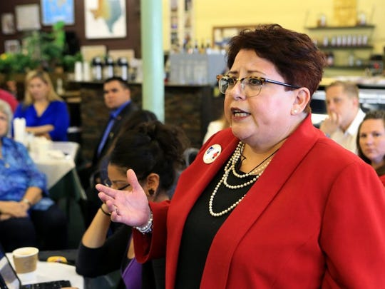 Rachel Denny Clow/Caller-Times Nancy Vera, president of the American Federation of Teachers, said Thursday she is tired of talk and the community should be expecting more of its leaders during the Coastal Bend Community Response Coalition public forum on domestic violence at Sugarbakers.