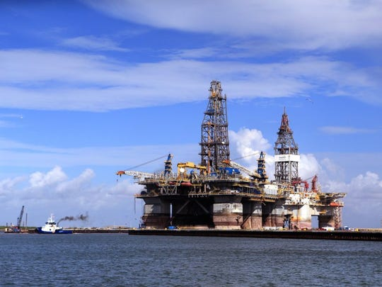 Rachel Denny Clow/Caller-Times The Noble Jim Day, one of the world's largest offshore oil rigs was docked at Gulf Copper in Port Aransas on Thursday.