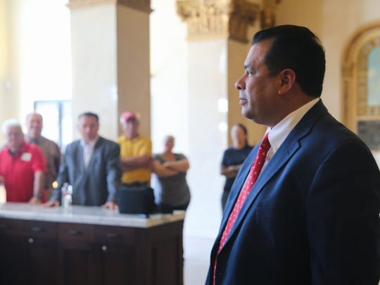 Yfat Yossifor / Standard-Times Police Chief Tim Vasquez called a press conference to talk about cancelled election debates Friday, May 27, at San Angelo City Hall. Vasquez said his election opponent, Frank Carter, refused to attend the debates.