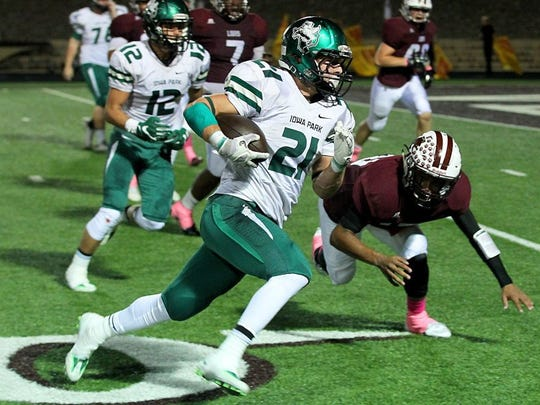 Iowa Park's Bowie Franks (21) is believed to be the Hawks' all-time leading rusher, gaining nearly 4,000 yards in two seasons.