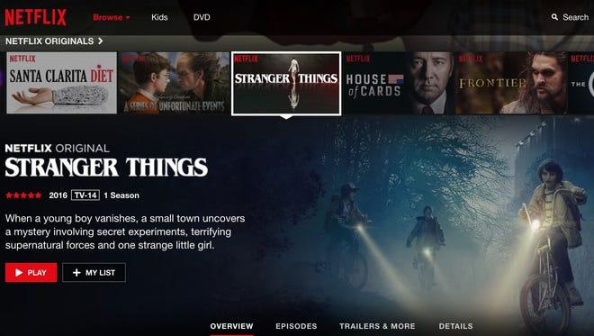 The Netflix menu showing the original series 'Stranger Things.'