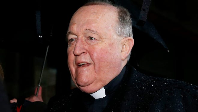Adelaide Archbishop Philip Wilson is pictured arriving at Newcastle Local Court, in Newcastle, New South Wales, Australia.