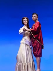 """Brooke Rogers, left, and Christopher Dorado rehearse for College of the Sequoias' production of """"The King and I"""" on Tuesday, March 1, 2016."""