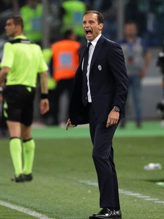 FILE - In this Wednesday, May 17, 2017 file photo, Juventus coach Massimiliano Allegri shouts during the Italian Cup soccer final match between Lazio and Juventus, at Rome's Olympic stadium. Juventus will face Real Madrid in the Champions League final in Cardiff, Wales, on Saturday, June 3, 2017. (AP Photo/Gregorio Borgia, File)