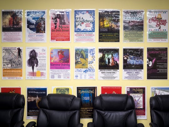 Playbills line the wall at Knoxville Children's Theatre