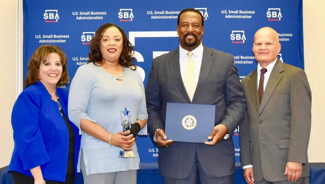 Von Washington, second from right, received the SBA Texas and SBA El Paso Business Person of the Year award at a May 3 luncheon. Next to him are his wife, Gayla Washington; Cindy Ramos Davidson, CEO of the El Paso Chamber of Commerce, which nominated him for the award; and Phillip Silva, SBA El Paso district director.