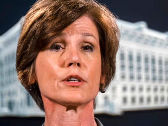 FILE - In this June 28, 2016 file photo, then-Deputy Attorney General Sally Yates speaks during a news conference at the Justice Department in Washington. An FBI investigation and congressional probes into the Trump campaign and contacts with Russia continue to shadow the administration, each new development a focus of White House press briefings and attention on Capitol Hill.