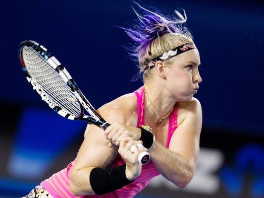 Bethanie Mattek-Sands hits a backhand to Maria Sharapova. Sands lost the match 6-3, 6-4.