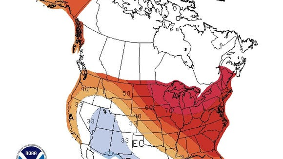 One month outlook, temperature probability.