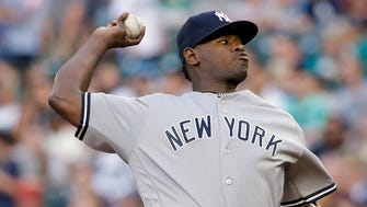 New York Yankees starting pitcher Luis Severino throws against the Seattle Mariners during the first inning of a baseball game Thursday, July 20, 2017, in Seattle. The Yankees won, 4-1, led by Severino.