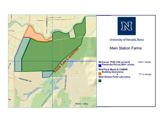 The map shows the portion of the University of Nevada, Reno's Main Station Farm up for sale. The 104-acre portion immediately abuts McCarran Boulevard. The remainder of 700 acres of the farm will stay with the university.