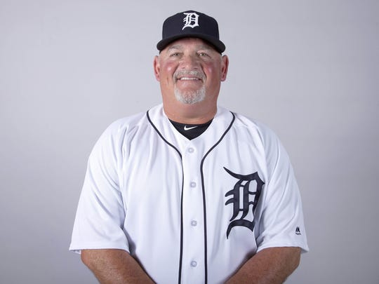 Detroit Tigers pitching coach Chris Bosio  during media