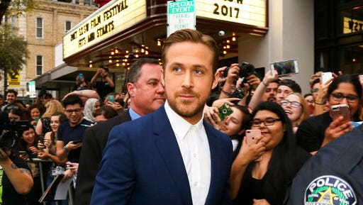 """FILE - In this March 10, 2017 file photo, actor Ryan Gosling arrives at the world premiere of his film, """"Song to Song"""" during the South by Southwest Film Festival in Austin, Texas. The film, which also stars Michael Fassbender, Rooney Mara and Natalie Portman, was filmed in Austin."""