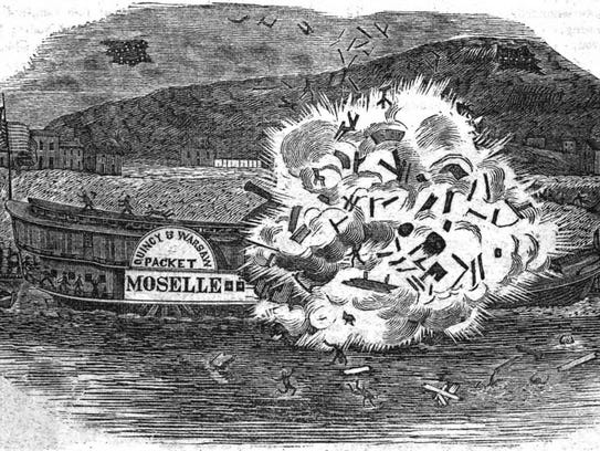 The steamboat Moselle exploded near Cincinnati on April