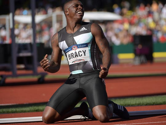 Marvin Bracy celebrated after placing third in the