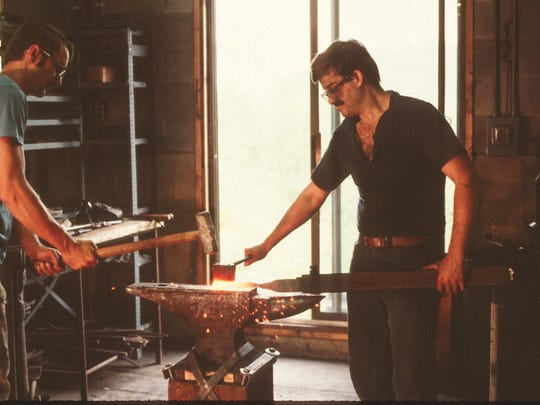 Company's founders Reed Hampton and George Chandler at Hubbardton Forge during the early days.