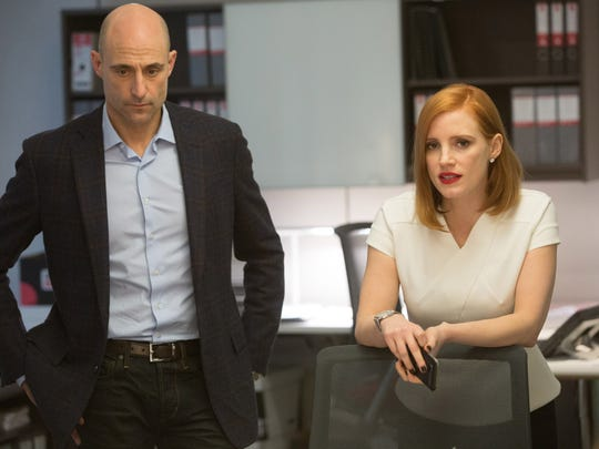 """Mark Strong and Jessica Chastain star in """"Miss Sloane."""""""
