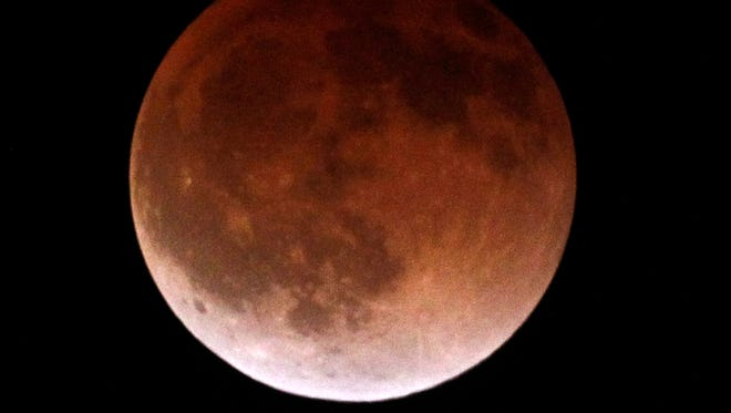 A Blood Moon as seen in California on Tuesday, April 15, 2014.