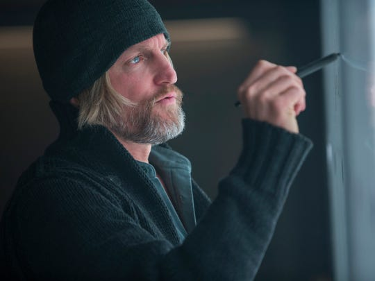 """Woody Harrelson as Haymitch Abernathy appears in a scene from the film, """"The Hunger Games: Mockingjay - Part 1."""" The movie releases on Nov. 21, 2014."""