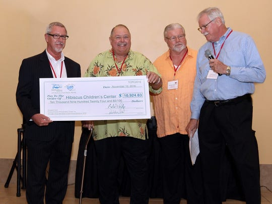 From the Heart 2016 donation check to Hibiscus Children's Center, Paul Sexton CEO Hibiscus Children's Center;  Robbie Sheets VP TCPC; Mike Przekop President TCPC; John Furlong, chairman From the Heart Committee.