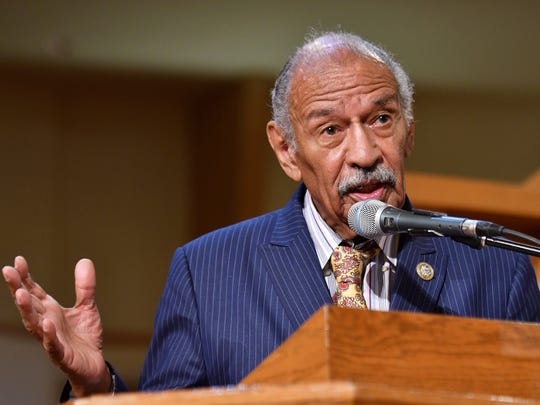 U.S. Rep. John Conyers speaks about health care at a town hall meeting on jobs and health care at Fellowship Chapel Church in Detroit on Aug. 22, 2017.