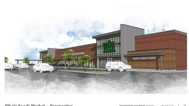 An artist's rendering of the new Whole Foods Market store under construction in Meridian Township.