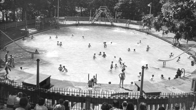 Pictured June 23, 1954, Moores pool was first designed in 1922 by Wesley Bintz, Lansing's former chief engineer, in honor of J.H. Moore.