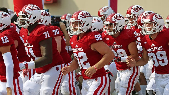 The Indiana Hoosiers take the field against Wake Forest at Memorial Stadium, Bloomington, Ind., Saturday, September 24, 2016.