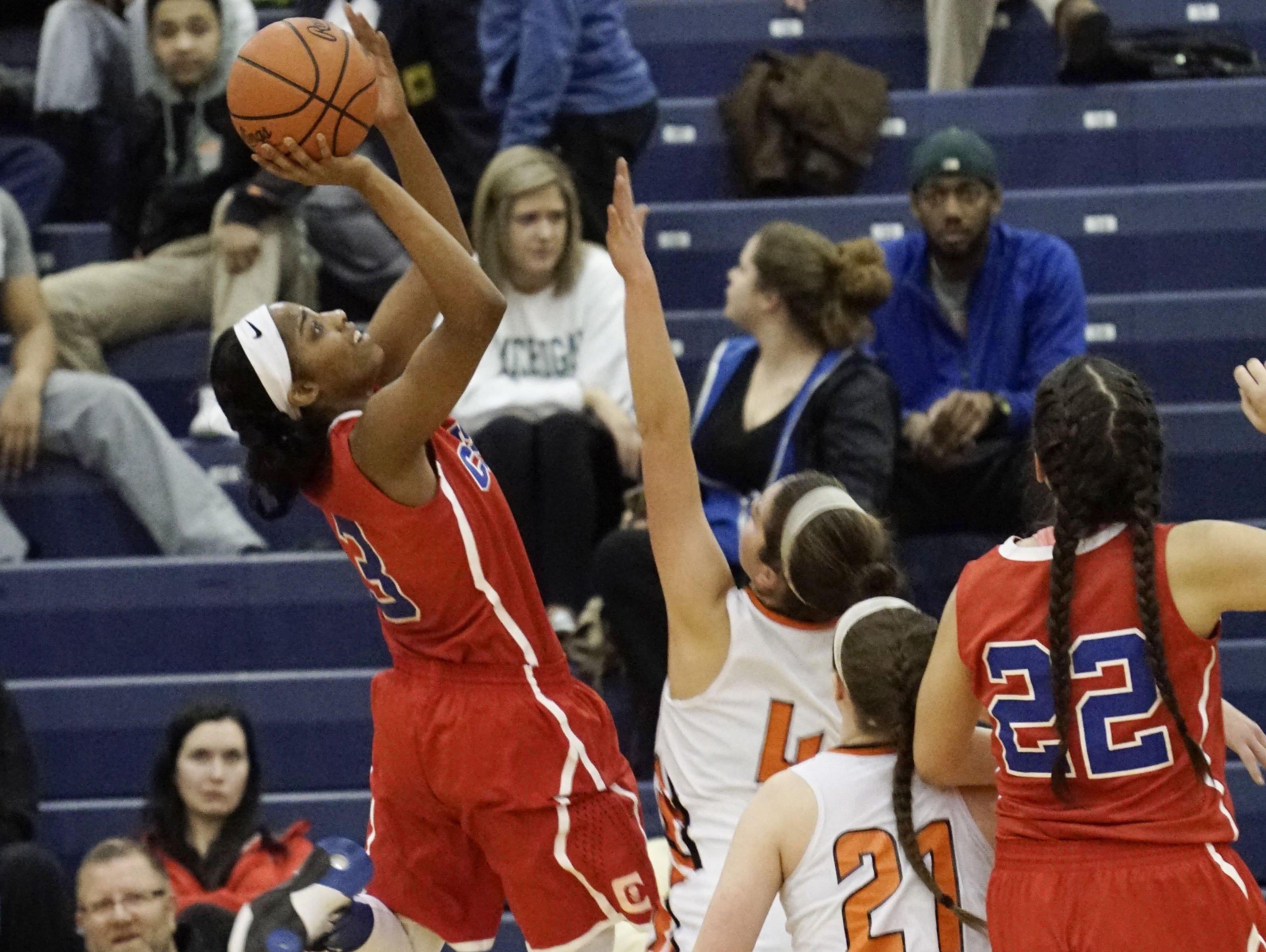 Warren Cousino's Kierra Fletcher goes up for a shot during a 41-29 win over Northville Tuesday at Southfield.