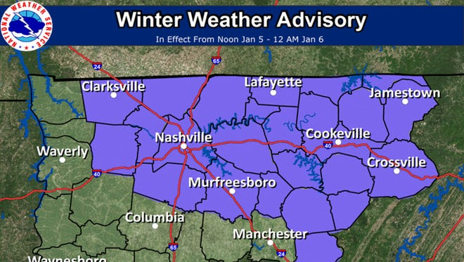 Winter weather advisory issued for parts of Middle Tennessee from noon to midnight.