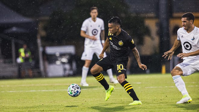 Columbus Crew midfielder Lucas Zelarayan controls the ball in the first half against Minnesota United in the round of 16 of the MLS is Back Tournament near Orlando, Florida, on July 28, 2020.