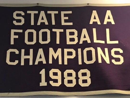 The blanket from Shasta High's 1988 state Division 2-AA title that was determined by a Cal-Hi Sports committee.