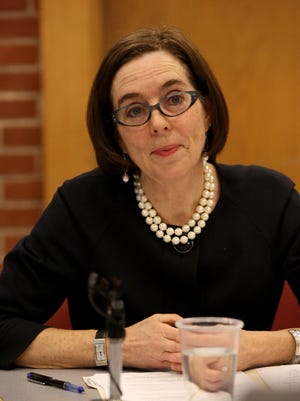 Gov. Kate Brown talks with the Statesman Journal editorial board on Tuesday, March 10, 2015, in Salem, Ore.