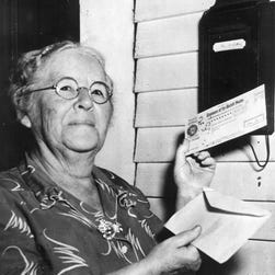 First monthly Social Security check recipient Ida May Fuller  Fuller was the first Social Security beneficiary to receive a recurring monthly payment (beginning Jan. 31, 1940).  http://www.godirect.org/media/retire-the-check/ [Via MerlinFTP Drop]
