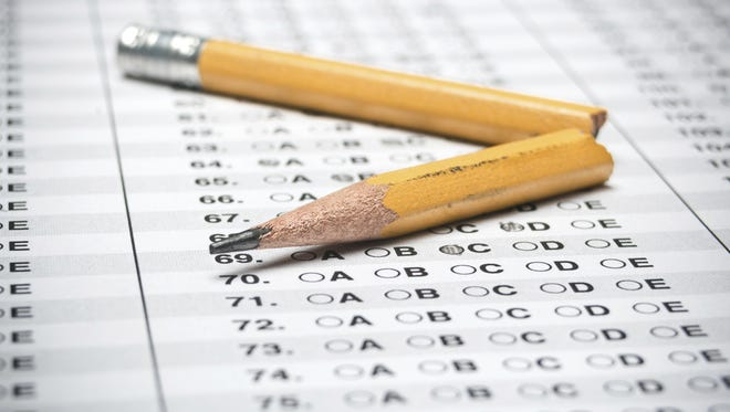 A standardized testing answer sheet.