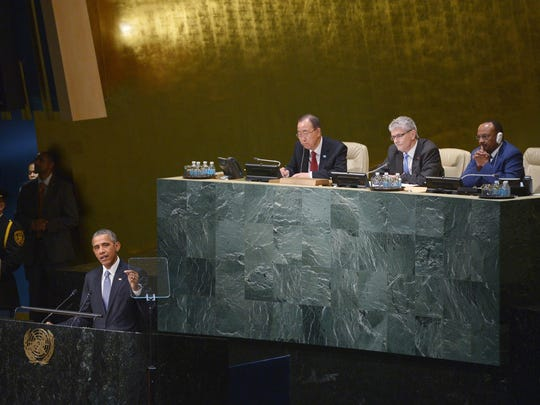 US President Barack Obama addresses the 70th Session of the United Nations General Assembly on September 28, 2015 at the United Nations in New York. AFP PHOTO/MANDEL NGANMANDEL NGAN/AFP/Getty Images