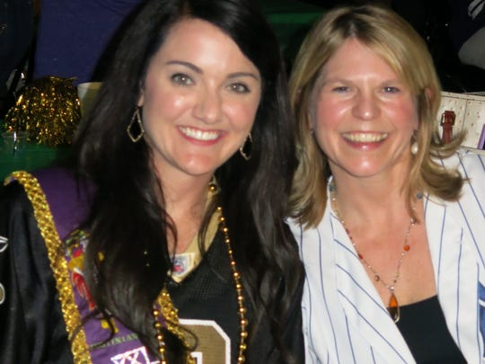 Allie Aiello and Amy Bokenfohr at Krewe Elders Coronation.