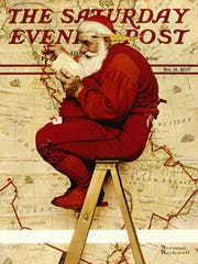 """""""Extra Good Boys and Girls (Santa on Ladder with Map),"""" Norman Rockwell, cover illustration for The Saturday Evening Post, Dec. 16, 1939"""