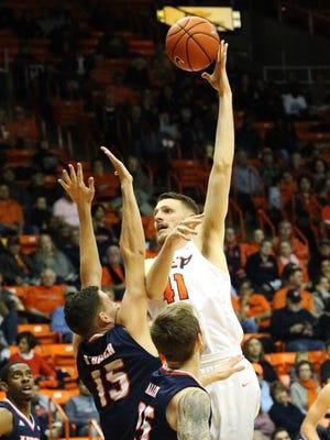 UTEP center Matt Willms hooks a shot in for two points against UTSA Saturday night.