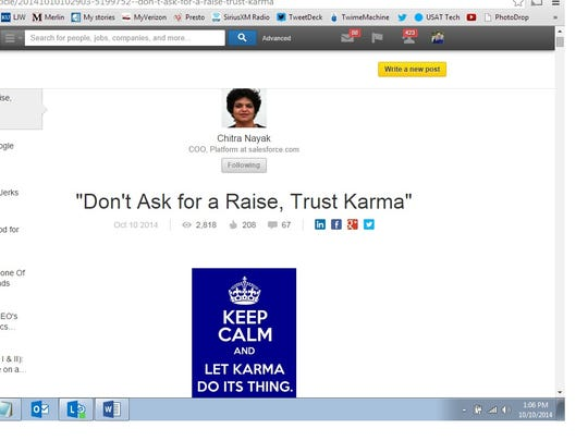 A screen shot from the professional networking site LinkedIn.