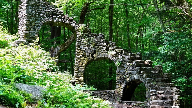 Madame Sherri Forest in West Chesterfield has a wild history. Madame Sherri built her home here in 1929 amid the forest and farmland. The granite steps that curve over three arches, some stone columns and the fireplace are all that remain of it.
