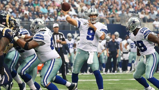 Cowboys quarterback Tony Romo threw for 210 yards and three touchdowns last week against the St. Louis Rams.