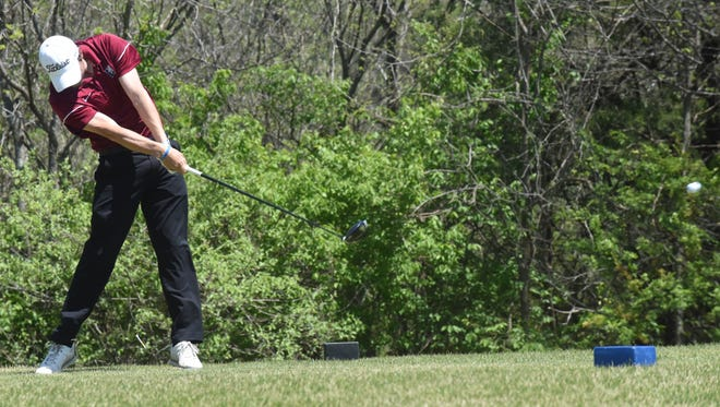 Lyon College's Joshua Lunceford, a former Yellville-Summit golfer, tees off on the 18th hole at Big Creek Golf & Country Club on Tuesday afternoon.