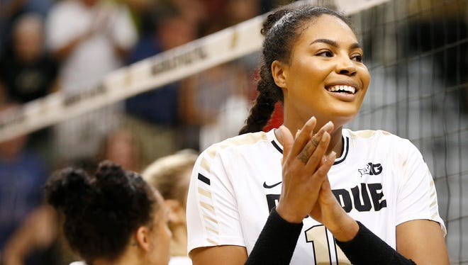 Sherridan Atkinson joined an elite group of Purdue volleyball players on Wednesday.