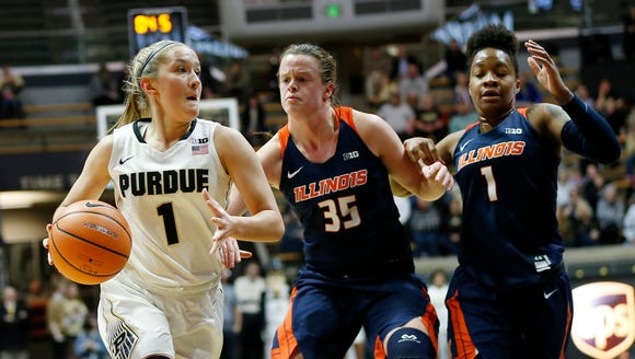 Karissa McLaughlin of Purdue drives to the basket past
