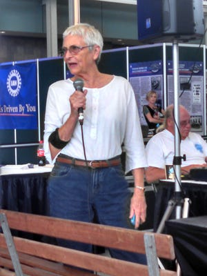 Playwright Nancy Gall-Clayton at a previous Kentucky New Play Series, which returns to the Kentucky State Fair this year.