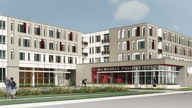 Construction has started on a delayed apartment and library development at 7717 W. Good Hope Road.